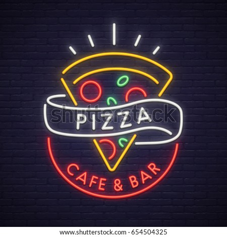 Pizza logo, emblem. Pizza neon sign, bright signboard, light banner. Neon sign