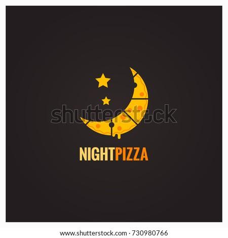 pizza logo night concept design