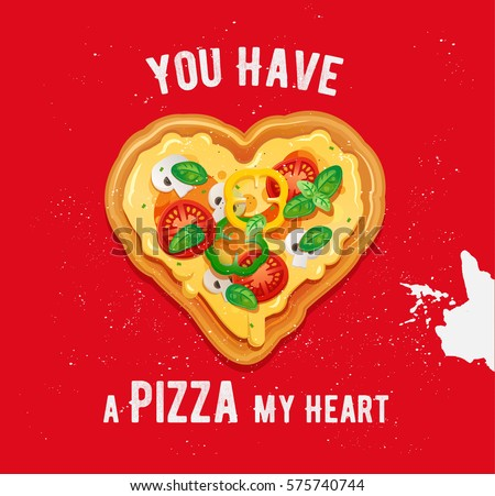 pizza love card design with