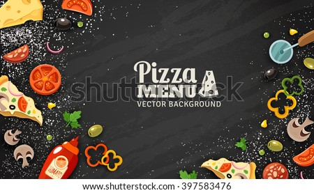 Pizza Menu Chalkboard Cartoon Background With Fresh Ingredients Vector Illustration