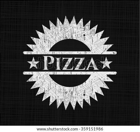 Pizza on blackboard
