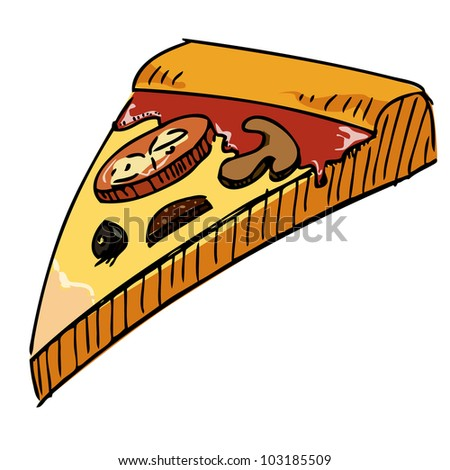 Pizza piece icon. Hand drawing sketch vector illustration