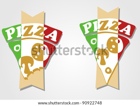 Pizza. Product poster for shop. Design sale card, offers, price. Vector.