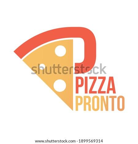 Pizza pronto logo,  Italian pizzeria and food Foto stock ©