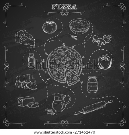 Pizza recipe. Ingredients for pizza in sketch style. Background chalk board. Vector illustration.