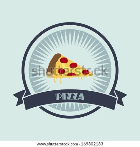 pizza retro label - stock vector
