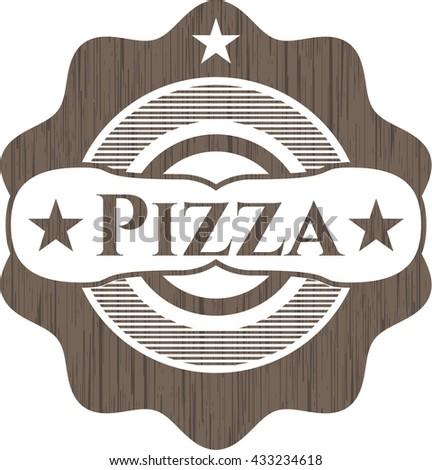 Pizza retro style wooden emblem