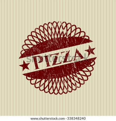 Pizza rubber stamp with grunge texture