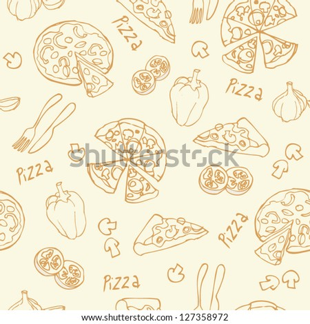Pizza seamless background vector