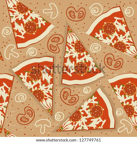 pizza seamless pattern.Vector food