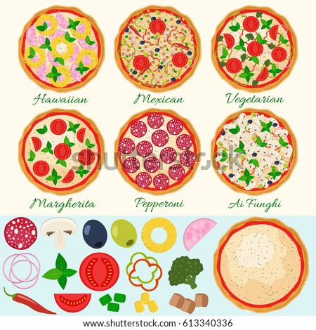 Pizza set vector illustration. Hawaiian, Margherita, Pepperoni, Vegetarian, Mexican, Mushroom pizza. Isolated pizza ingredients