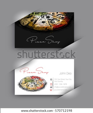 pizza shop business card vector
