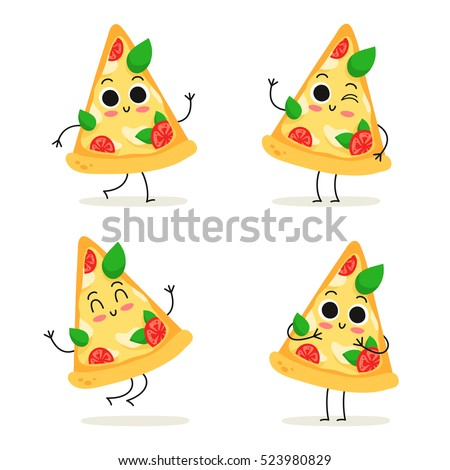 Pizza slice. Cute fast food vector character set isolated on white