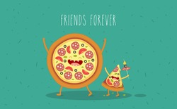 Pizza slice. Fast food. Vector cartoon. Vector illustration. Friends forever. Vector illustration. Comic characters. Use for card, poster, banner, web design and print on t-shirt. Easy to edit.