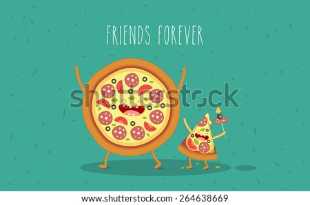 Pizza slice. Fastfood. Vector cartoon. Friends forever. Comic characters.