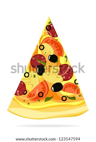 Pizza slice isolated on white background. Vector version.