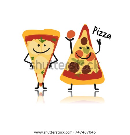 Pizza slices character, sketch for your design