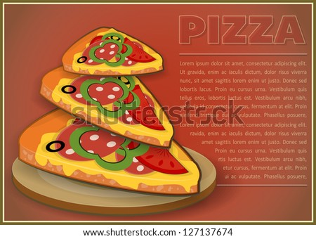 Pizza Slices. Horizontal format. Cover Menu for Pizzeria. Vector Illustration.