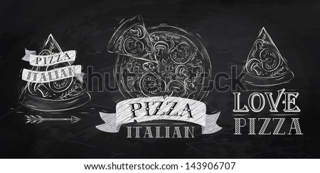Pizza symbol, icons and a slice of pizza with the inscription Italian stylized drawing with chalk on the blackboard