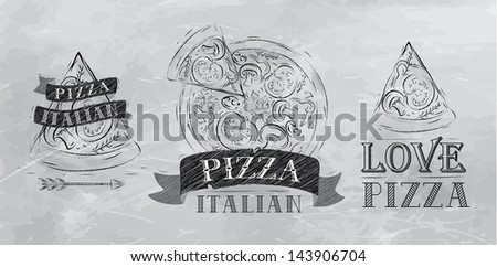 Pizza symbol, icons and a slice of pizza with the inscription Italian stylized drawing with coal on the blackboard