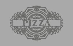 pizza text inside Grey stroke emblem. Solid fancy background. Artistic illustration.