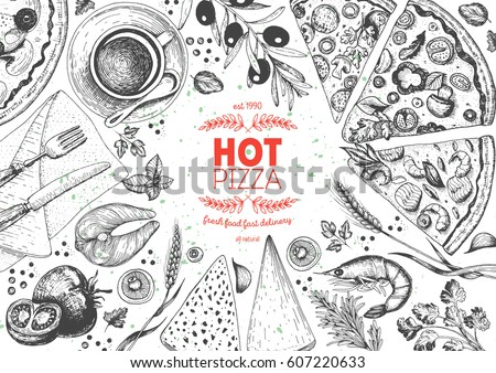 pizza top view frame. italian...