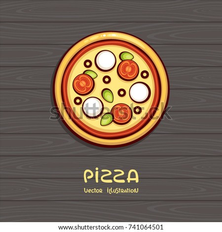 Pizza top view vector illustration. Italian food. Pizza with tomato and mozzarella on wood background. Design for menu, logo and pack.