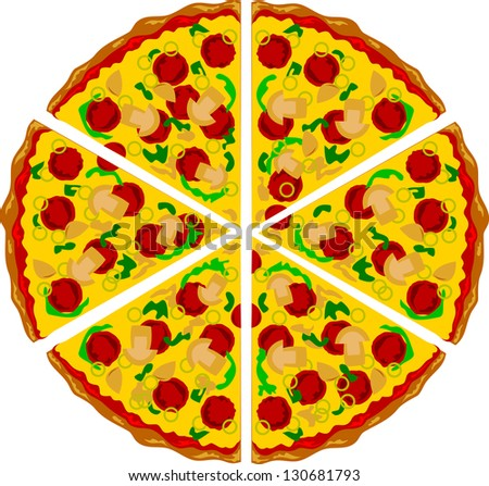 Pizza triangle shape with mushrooms cheese and several ingredients on it. Airbrush illustration