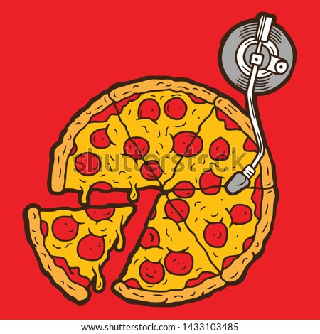 Pizza  Turntable Spinning Disc Jockey Vector Illustration