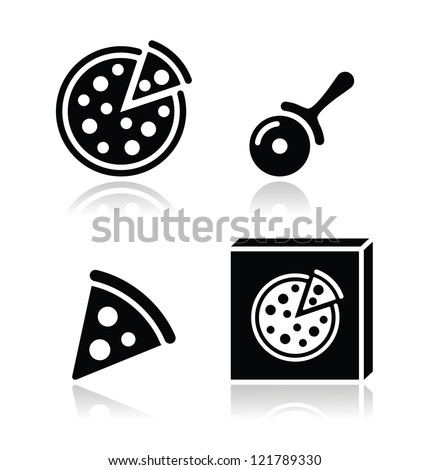 pizza vector icons set with
