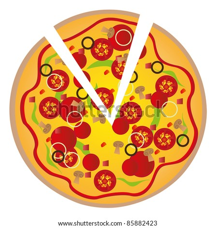 pizza with ingredients isolated over white background. vector