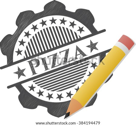 Pizza with pencil strokes