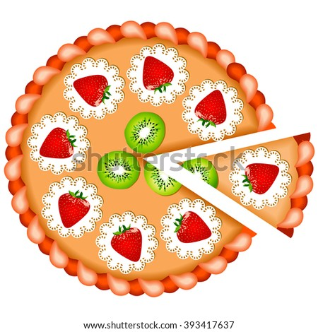 pizza with strawberry and kiwi