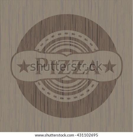 Pizza wooden emblem. Retro