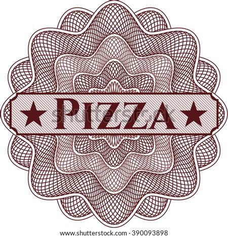 Pizza written inside rosette