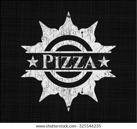 Pizza written on a blackboard