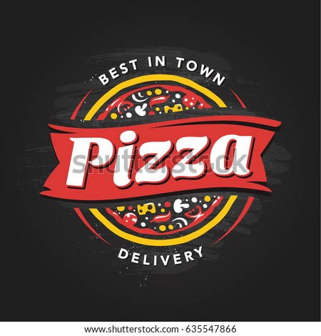 Pizzeria Vector Emblem on blackboard. Pizza  logo template. Vector emblem for cafe, restaurant or food delivery service.