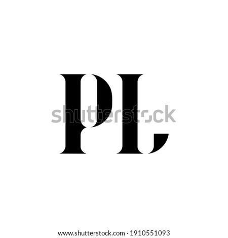 PL P L letter logo design. Initial letter PL uppercase monogram logo white color. PL logo, P L design. PL, P L Stock fotó ©