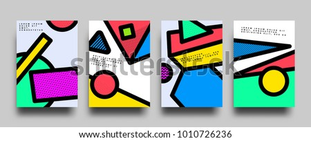 Placard templates set with abstract geometric shapes, 80s memphis bright style flat design elements. Retro art for a4 covers, banners, flyers and posters. Eps10 vector illustrations