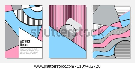 Placard Templates Set with Abstract Geometric Shapes. Vector Covers. Handwritten Wavy Stripes and Triangles in Bauhaus Style. Applicable for Brochure, Poster, Layout. Abstract Geometric Backgrounds. - Shutterstock ID 1109402720