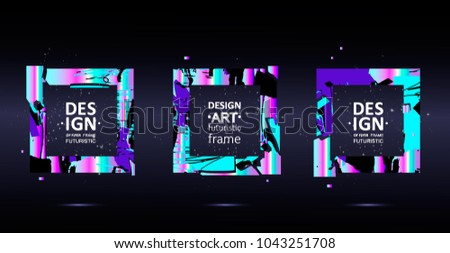 Placard templates set with abstract shapes, 80s memphis geometric style flat and line design elements. Retro art for a4 covers, banners, flyers and posters. Eps10 vector illustrations #1043251708