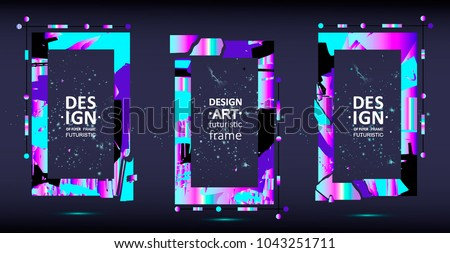 Placard templates set with abstract shapes, 80s memphis geometric style flat and line design elements. Retro art for a4 covers, banners, flyers and posters. Eps10 vector illustrations #1043251711