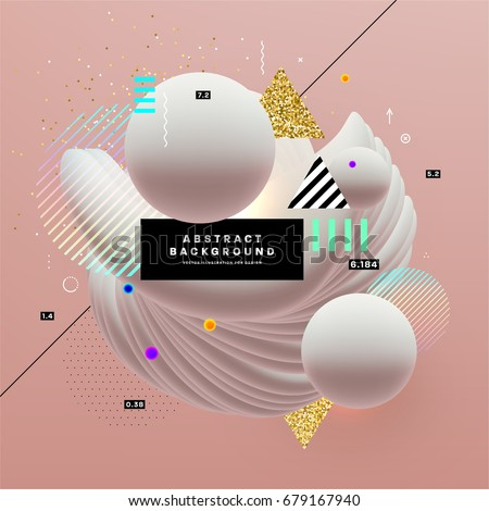 Placard with abstract liquid bubbles shapes, 80s memphis geometric style flat and 3d design elements. Retro art for covers, banners, flyers and posters. Eps10 vector illustrations