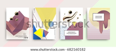 Placards set with abstract liquid shapes, 80s memphis geometric style flat and 3d design elements. Retro art for covers, banners, flyers and posters. Eps10 vector illustrations.