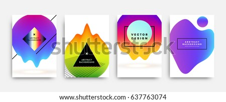 Placards with abstract liquid bubbles shapes, 80s memphis geometric style flat and 3d design elements. Retro art for covers, banners, flyers and posters. Esp10 vector illustration.