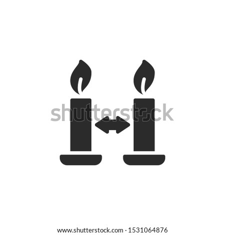 Place burning candles apart from one another filled icon. Labeled for fire safety. Labeling for wax candles. Sings for desing, for a website, for label printing.