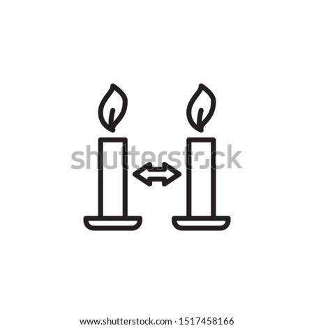 Place burning candles apart from one another line icon. Labeled for fire safety. Labeling for wax candles. Sings for desing, for a website, for label printing.