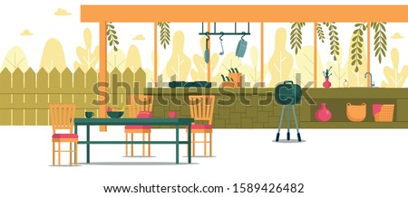 Place for Cooking in Backyard, Cartoon Banner. Outdoor Counter to Prepare Food for Festivities. Nearby is Dining Table and Barbecue Cooker for Cooking Meat. On Bottom Shelf Basket Towels.