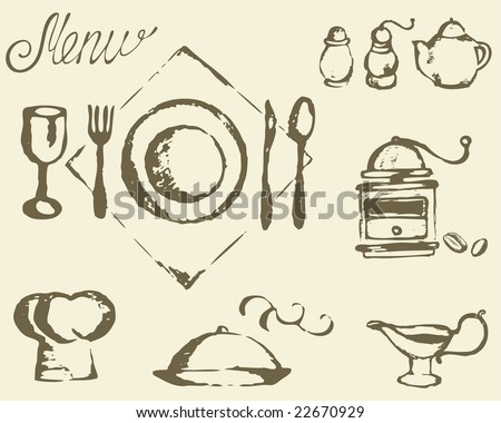 Place setting and restaurant menu
