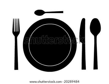 Place setting with plate in vector format
